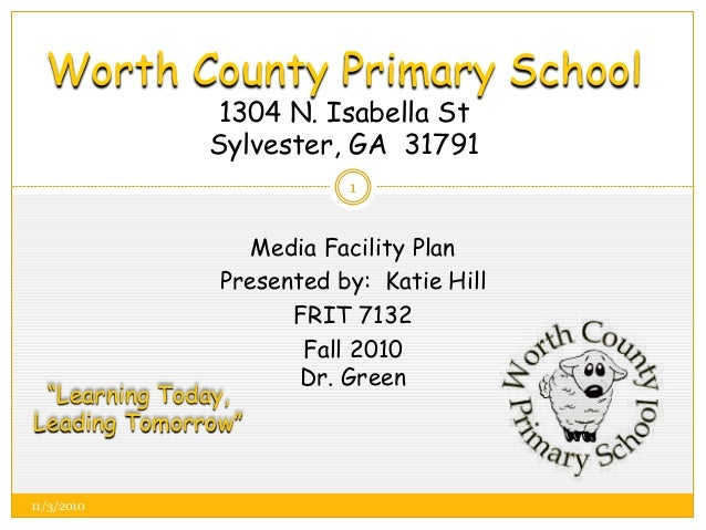 Worth County Primary School 1304 N. Isabella St Sylvester, GA 31791 Media Facility Plan Presented by: Katie Hill FRIT 7132...