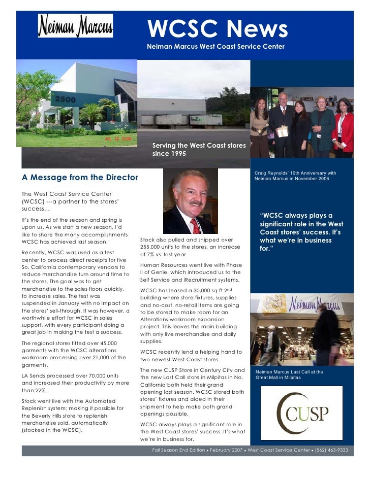 WCSC News                                                 Neiman Marcus West Coast Service Center                         ...