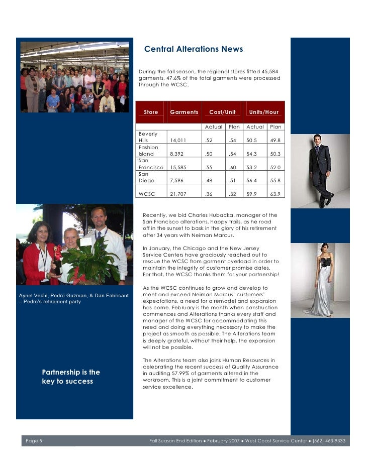 Central Alterations News                                               During the fall season, the regional stores fitted ...