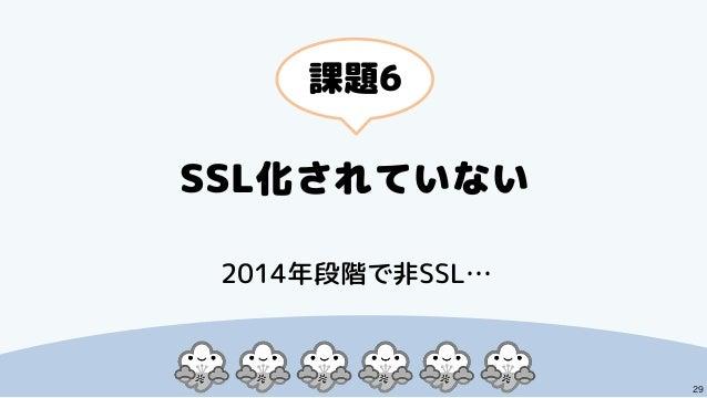 29 SSL化されていない 課題6 2014年段階で非SSL…