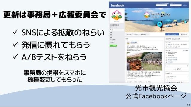 63 光市観光協会 公式Facebookページ  SNSによる拡散のねらい  発信に慣れてもらう  A/Bテストをねらう 更新は事務局+広報委員会で 事務局の携帯をスマホに 機種変更してもらった