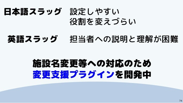74 日本語スラッグ 設定しやすい 役割を変えづらい 英語スラッグ 担当者への説明と理解が困難 施設名変更等への対応のため 変更支援プラグインを開発中