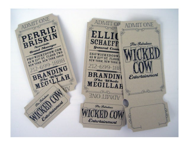 wicked cow ticket business card