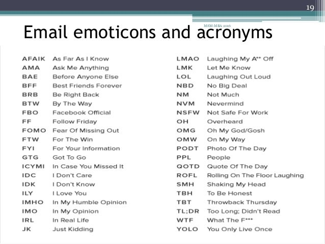 Acronyms and emoticons
