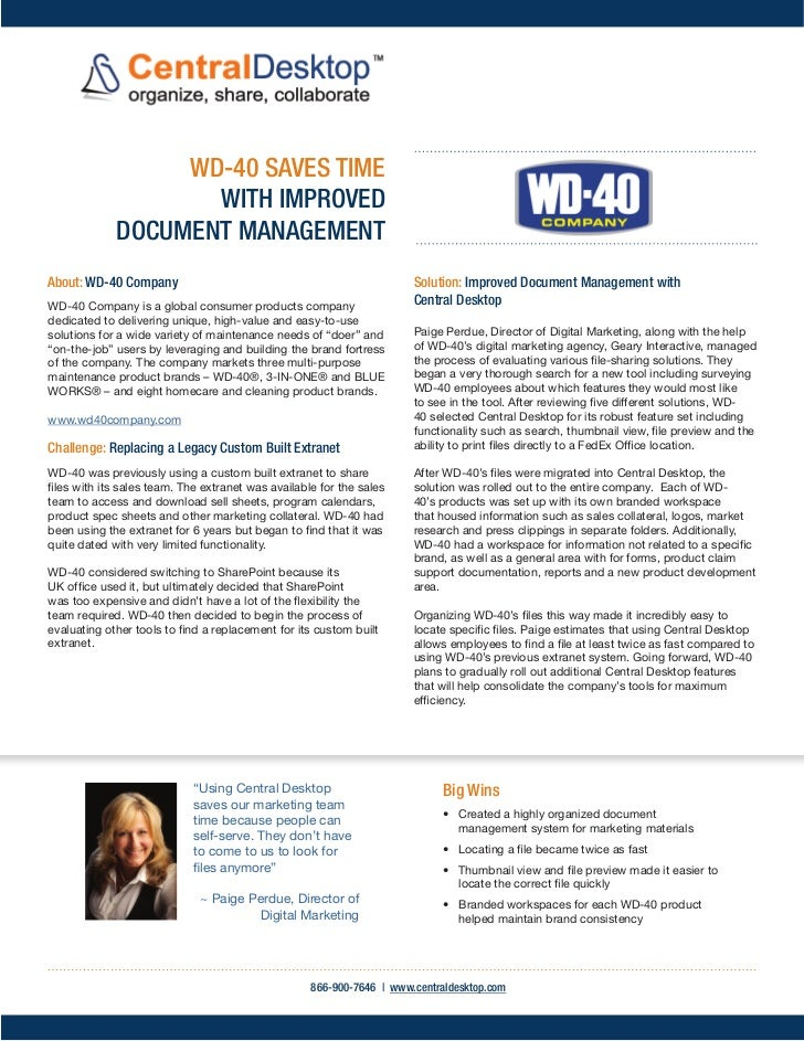 WD-40 SAVES TIME                    WITH IMPROVED             DOCUMENT MANAGEMENTAbout: WD-40 Company                     ...