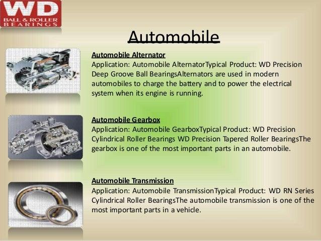 Automobile Automobile Alternator Application: Automobile AlternatorTypical Product: WD Precision Deep Groove Ball Bearings...