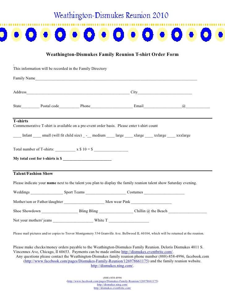 3 Weathington Dismukes Family Reunion T Shirt Order Form