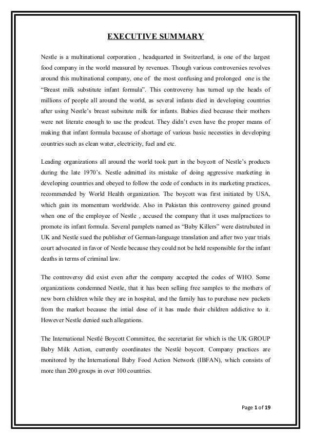 Executive Summary Of The Nestle Company Business Essay