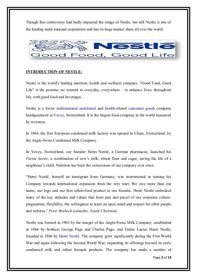 "introduction to mnc and the company nestle marketing essay Various economic sectorswhether an mnc can successfully enter these markets  the ksf are the factors within the company""s market  introduction."
