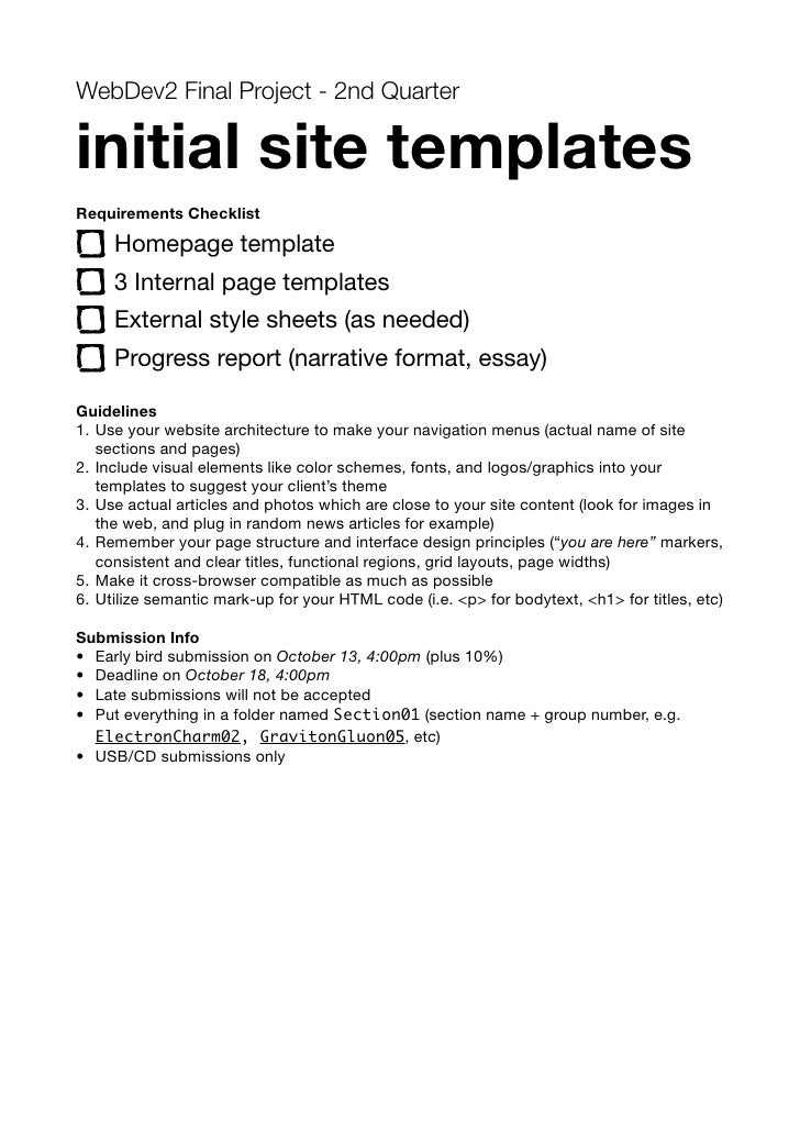 WebDev2 Final Project - 2nd Quarter  initial site templates Requirements Checklist       Homepage template      3 Internal...