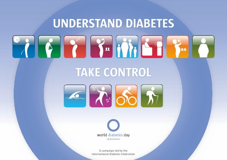 UNDERSTAND DIABETES      TAKE CONTROL                 A campaign led by the       International Diabetes Federation