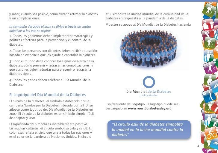 y saber, cuando sea posible, como evitar o retrasar la diabetes   azul simboliza la unidad mundial de la comunidad de la y...