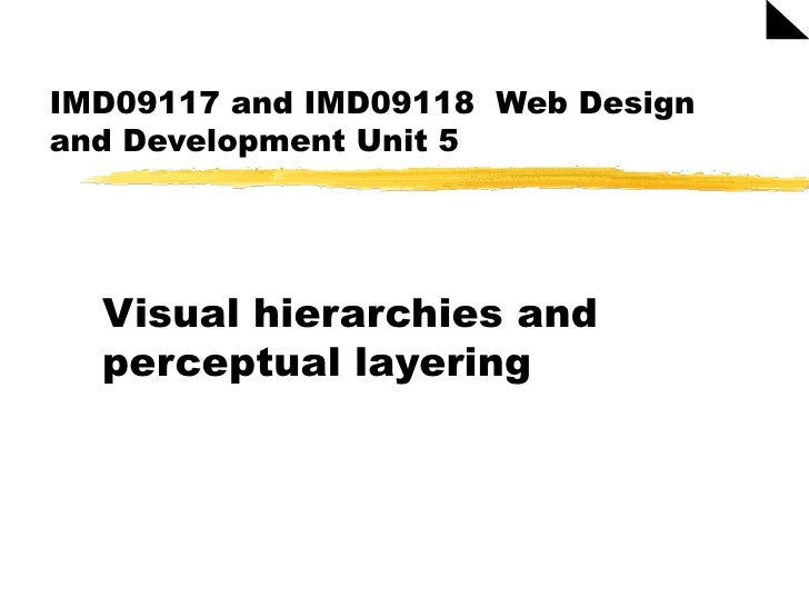 IMD09117 and IMD09118  Web Design and Development Unit 5 Visual hierarchies and perceptual layering
