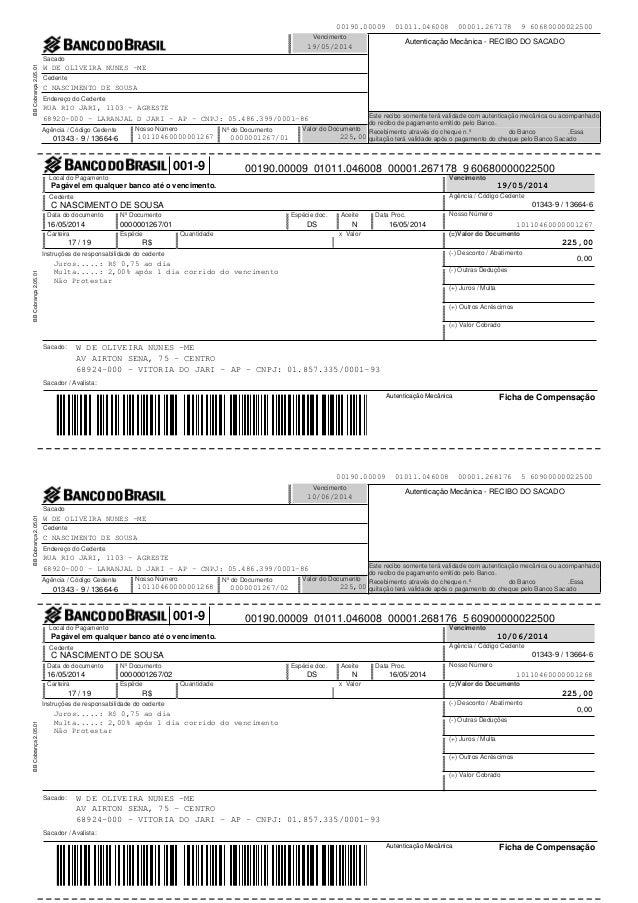 Autenticação Mecânica Ficha de Compensação Sacado Nosso Número Valor do DocumentoNº do Documento Vencimento Agência / Códi...
