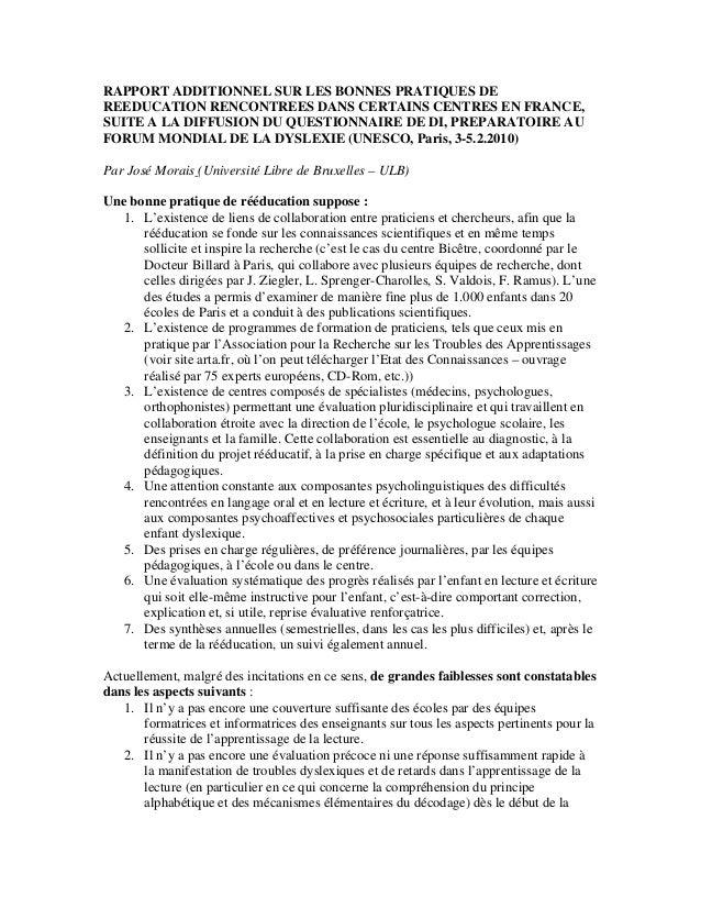 RAPPORT ADDITIONNEL SUR LES BONNES PRATIQUES DE REEDUCATION RENCONTREES DANS CERTAINS CENTRES EN FRANCE, SUITE A LA DIFFUS...