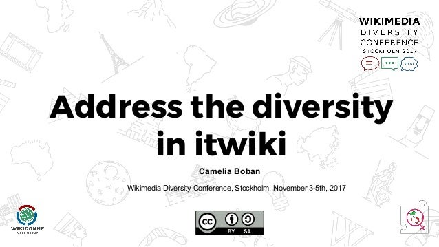 Address the diversity in itwiki Last updated 8/2017 Camelia Boban Wikimedia Diversity Conference, Stockholm, November 3-5t...