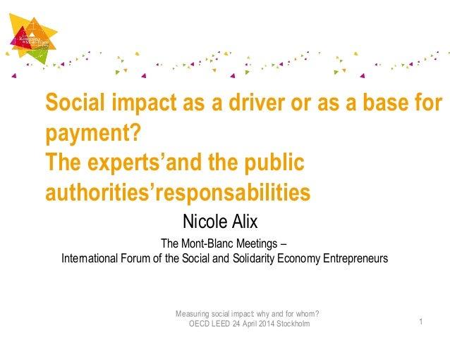 Nicole Alix The Mont-Blanc Meetings – International Forum of the Social and Solidarity Economy Entrepreneurs Social impact...