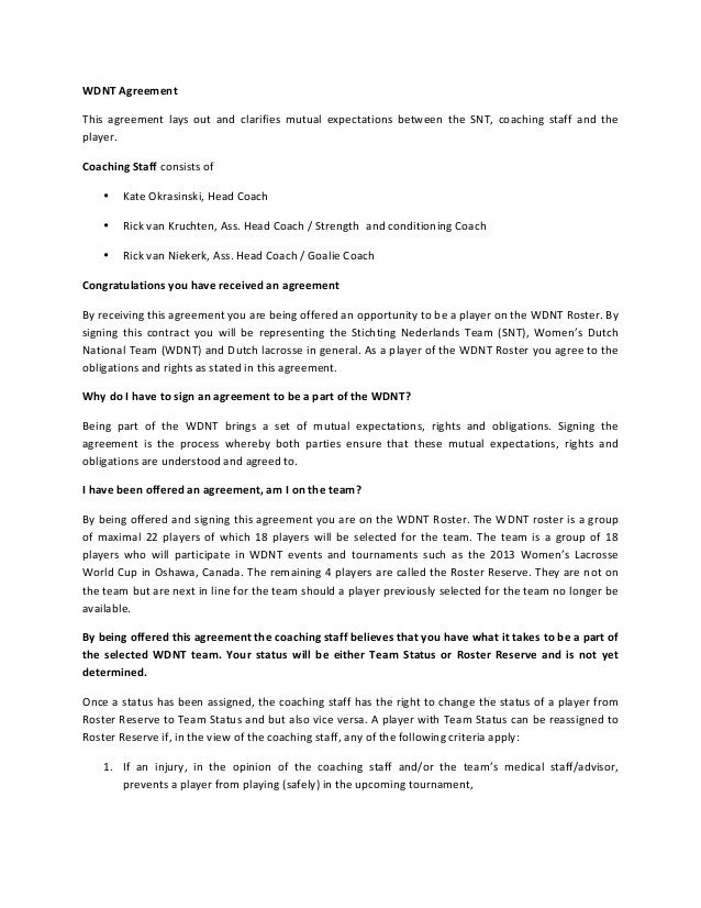 WDNT Agreement This  agreement  lays  out  and  clarifies  mutual  expectations  between  the  SNT...