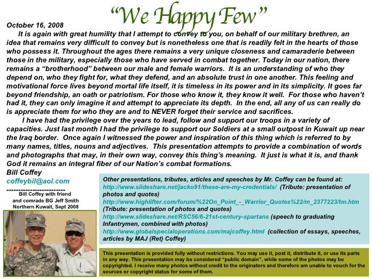 """"""" We Happy Few""""  Bill Coffey with friend  and comrade BG Jeff Smith Northern Kuwait, Sept 2008 October 16, 2008 It is agai..."""