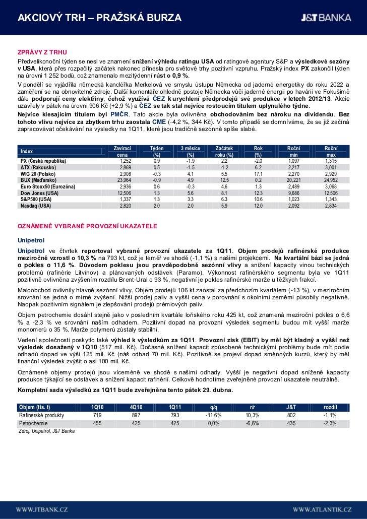 Týdenní přehled J&T Banka (18. - 22. duben 2011) Slide 2