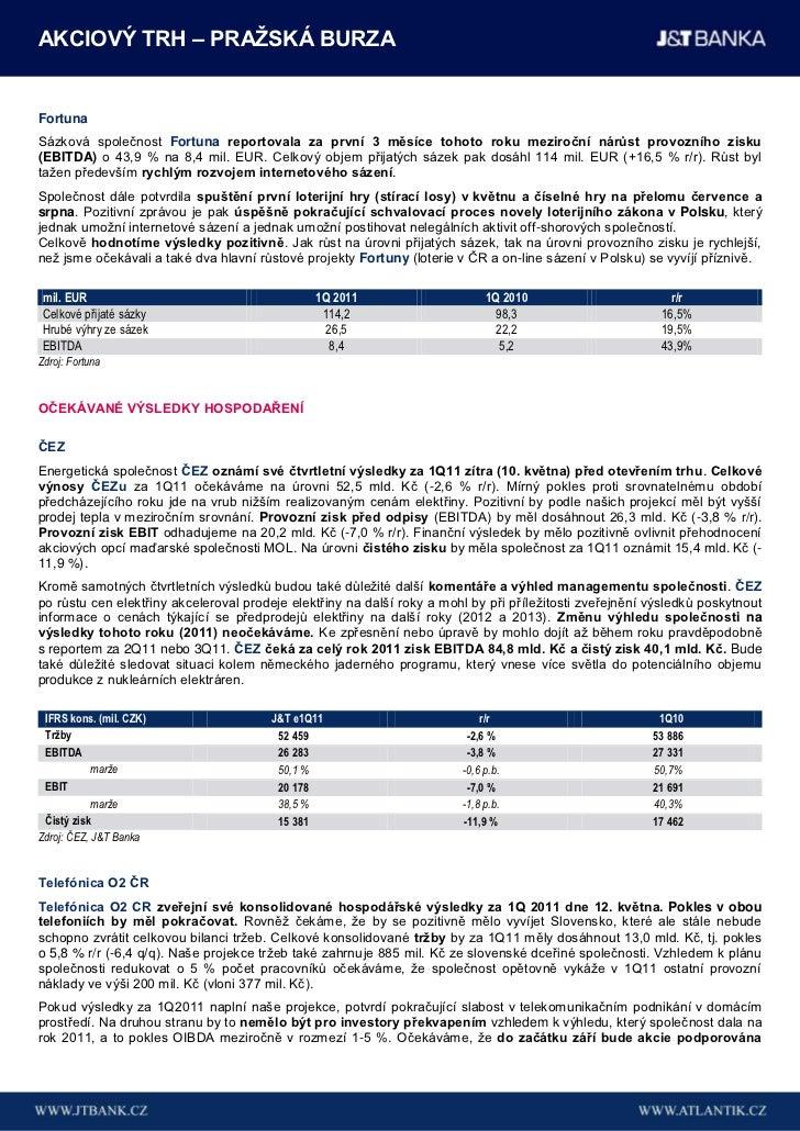 AKCIOVÝ TRH – PRAŢSKÁ BURZAFortunaSázková společnost Fortuna reportovala za první 3 měsíce tohoto roku meziroční nárůst pr...