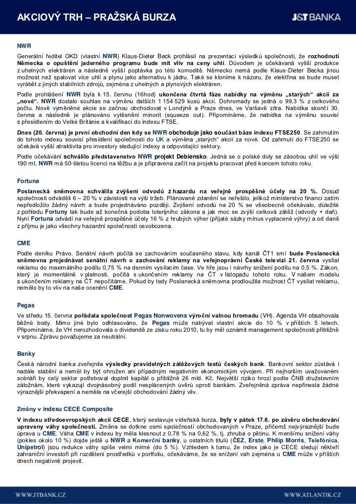 Týdenní přehled J&T Banky (13. - 17. červen 2011) Slide 3