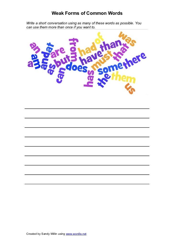 Weak Forms of Common WordsWrite a short conversation using as many of these words as possible. Youcan use them more than o...