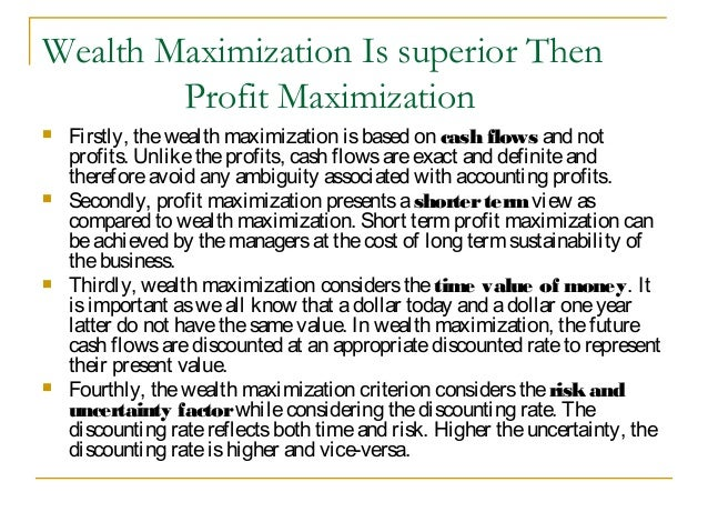 profit maximization and wealth maximization