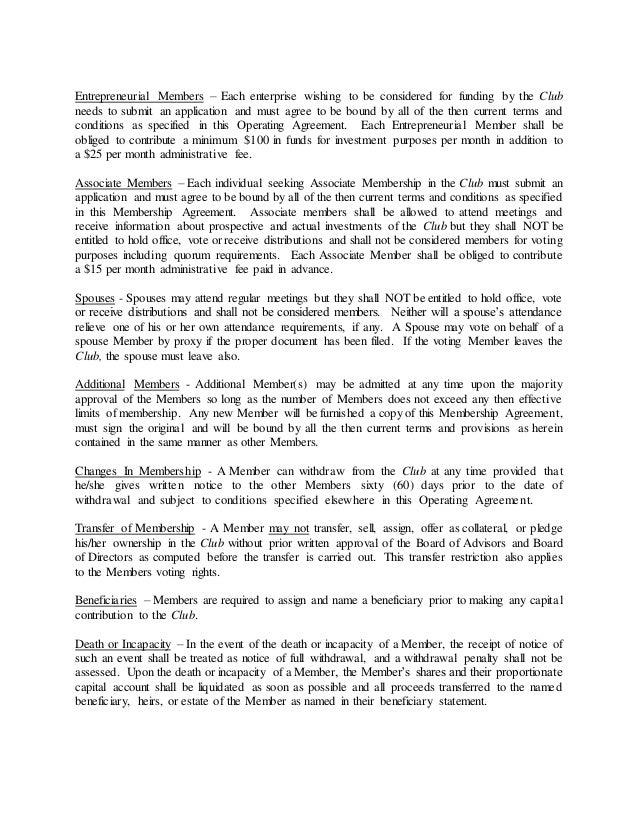 investment club partnership agreement
