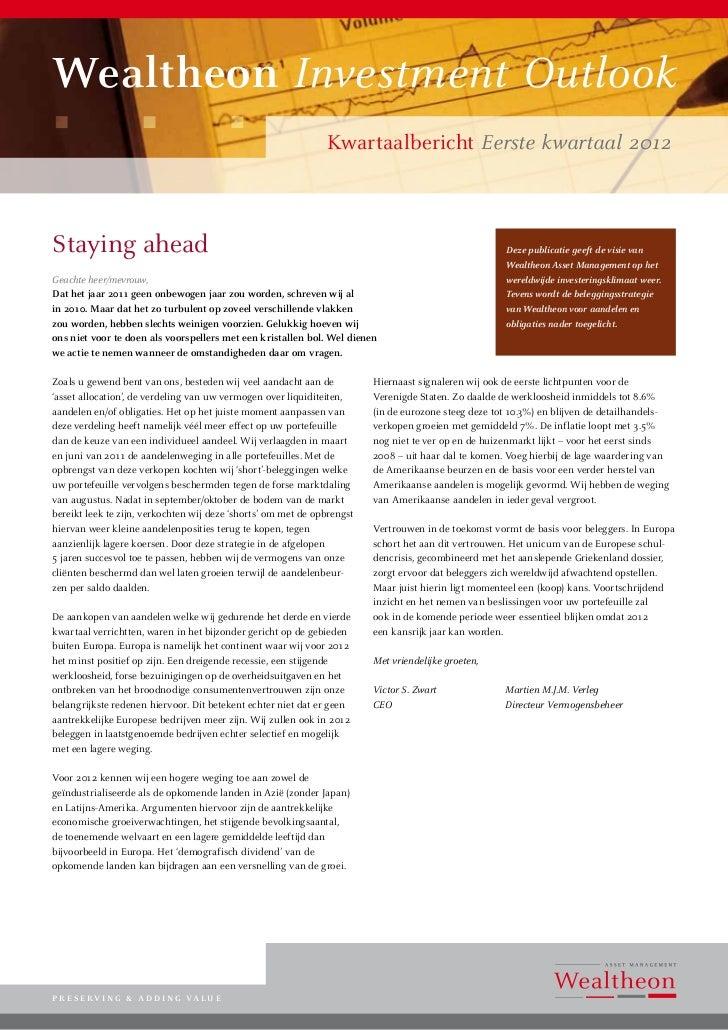 Wealtheon Investment Outlook                                                               Kwartaalbericht Eerste kwartaal...