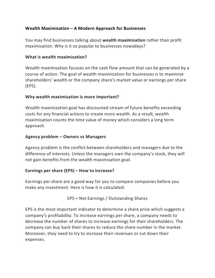 Wealth Maximisation – A Modern Approach for Businesses<br />You may find businesses talking aboutwealth maximisationrath...