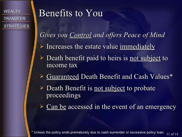 <ul><li>Gives you  Control  and offers Peace of Mind </li></ul><ul><li>Increases the estate value  immediately </li></ul><...