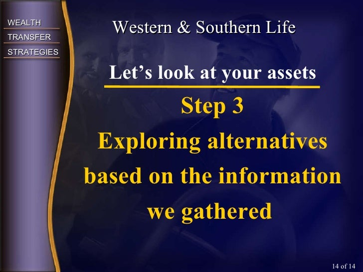 Western & Southern Life  of 14 Let's look at your assets Step 3 Exploring alternatives based on the information we gathered