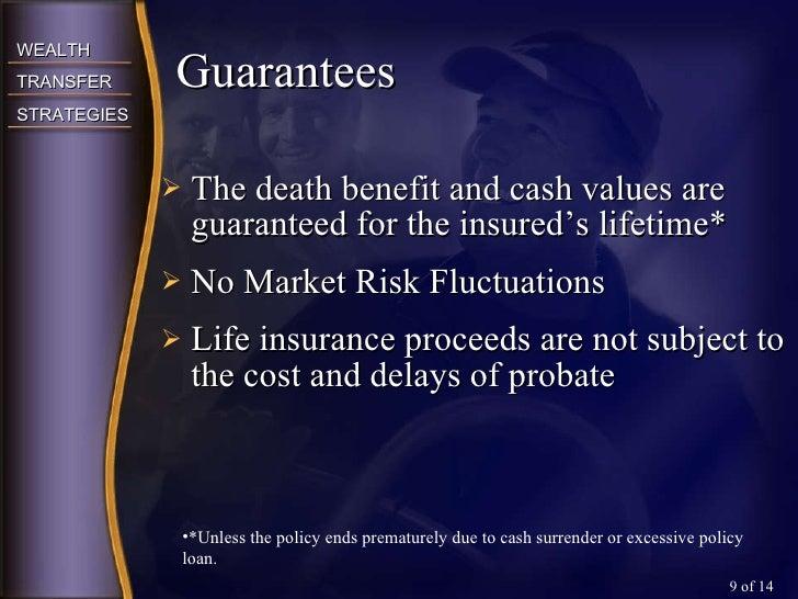 <ul><li>The death benefit and cash values are guaranteed for the insured's lifetime* </li></ul><ul><li>No Market Risk Fluc...