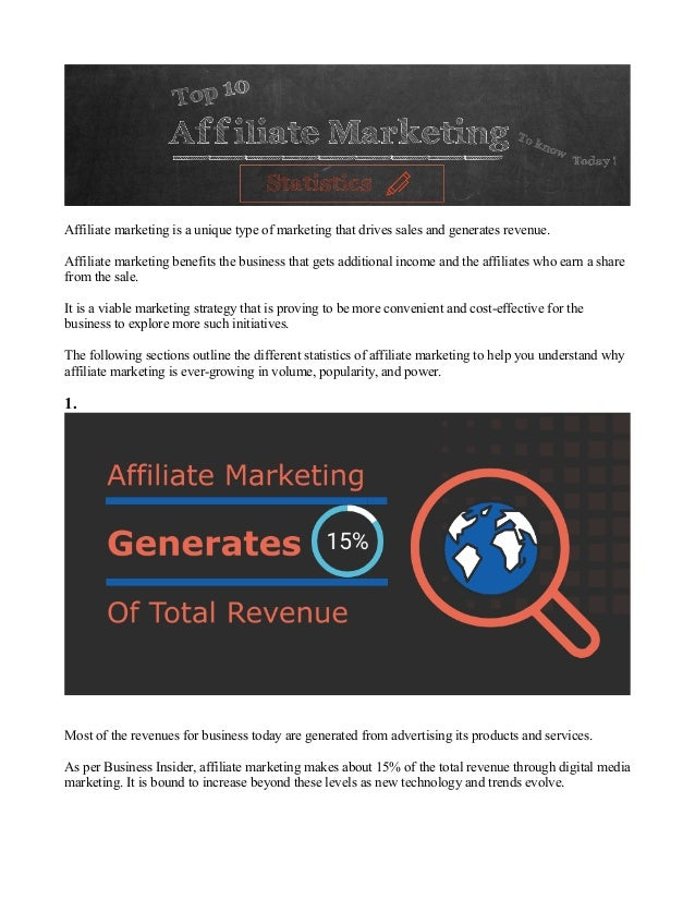 Affiliate marketing is a unique type of marketing that drives sales and generates revenue. Affiliate marketing benefits th...