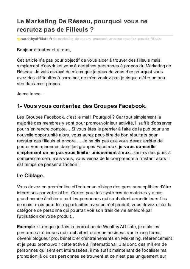 Le Marketing De Réseau, pourquoi vous ne recrutez pas de Filleuls ? wealthyaffiliate.fr /le-marketing-de-reseau-pourquoi-v...
