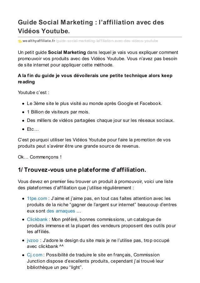 Guide Social Marketing : l'affiliation avec des Vidéos Youtube. wealthyaffiliate.fr /guide-social-marketing-laf f iliation...