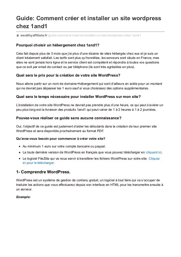 Guide: Comment créer et installer un site wordpress chez 1and1 wealthyaffiliate.fr/guide-comment-creer-et-installer-un-sit...