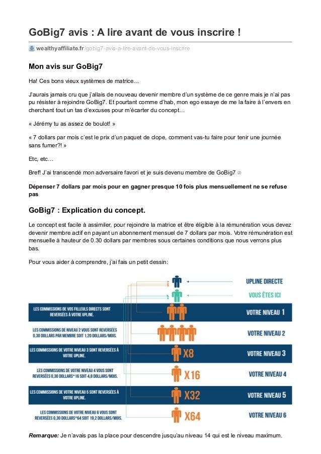 GoBig7 avis : A lire avant de vous inscrire ! wealthyaffiliate.fr/gobig7-avis-a-lire-avant-de-vous-inscrire Mon avis sur G...