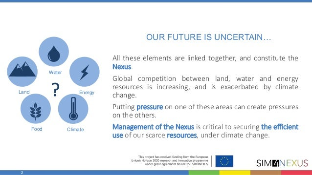 A novel approach towards improving decision-making for resource efficiency, based on the water-land-food-energy-climate Nexus! Slide 2