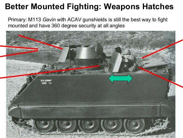 Better Mounted Fighting: Weapons HatchesPrimary: M113 Gavin with ACAV gunshields is still the best way to fightmounted and...