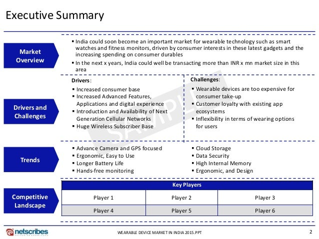 2 Executive Summary Drivers: Market Overview Drivers and Challenges Competitive Landscape Challenges: Key Players Player 1...