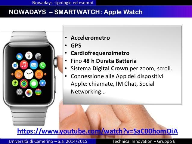 INDICENOWADAYS – SMARTWATCH: Apple Watch Nowadays: tipologie ed esempi. Università di Camerino – a.a. 2014/2015 Technical ...