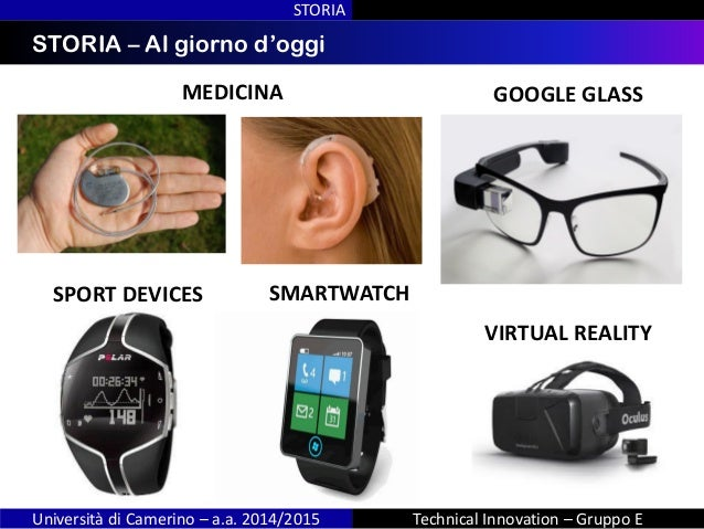 INDICESTORIA – Al giorno d'oggi STORIA Università di Camerino – a.a. 2014/2015 Technical Innovation – Gruppo E GOOGLE GLAS...
