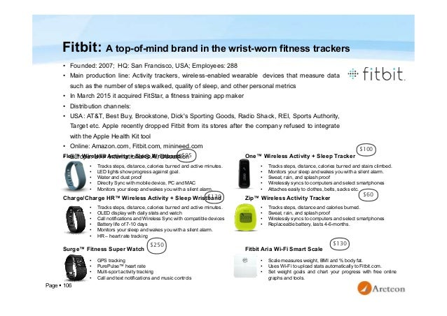 Page  106 Fitbit: A top-of-mind brand in the wrist-worn fitness trackers • Founded: 2007; HQ: San Francisco, USA; Employe...