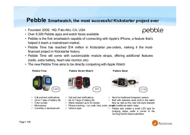 Page  109 Pebble Smartwatch, the most successful Kickstarter project ever • Founded: 2009; HQ: Palo Alto, CA, USA • Over ...