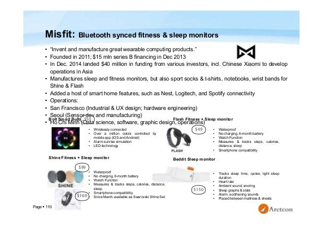 """Page  110 Misfit: Bluetooth synced fitness & sleep monitors • """"Invent and manufacture great wearable computing products.""""..."""