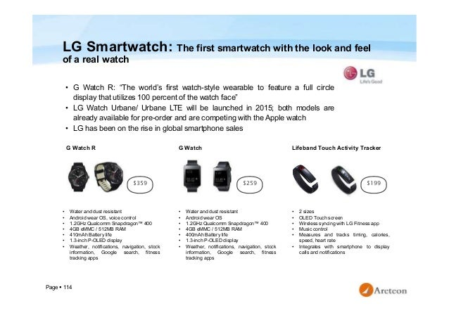 """Page  114 LG Smartwatch: The first smartwatch with the look and feel of a real watch • G Watch R: """"The world's first watc..."""