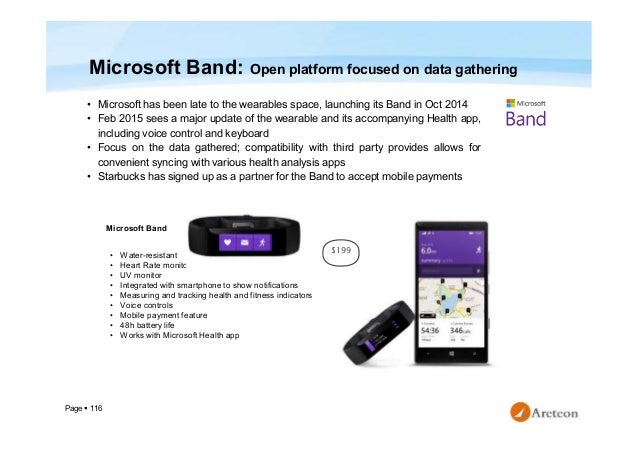 Page  116 Microsoft Band: Open platform focused on data gathering • Microsoft has been late to the wearables space, launc...