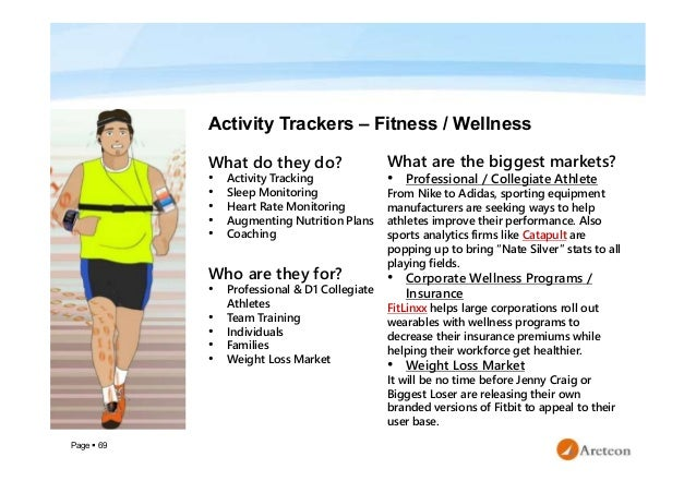 Page  69 Activity Trackers – Fitness / Wellness What do they do? • Activity Tracking • Sleep Monitoring • Heart Rate Moni...